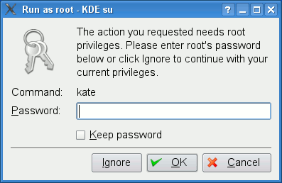 A Kdesu dialog informing that a specific program requires authenticating as root (https://en.wikipedia.org/wiki/Comparison_of_privilege_authorization_features)