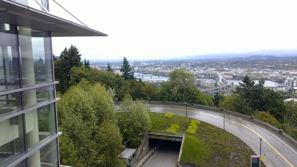 Portland's downtown, viewed from above, at the end of the 4T trail.